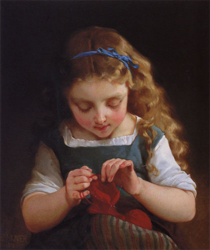 Emile Munier A careful stitch. 1875