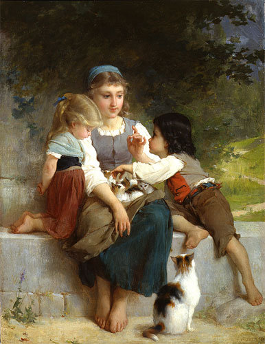 Emile Munier The new pets. 1881