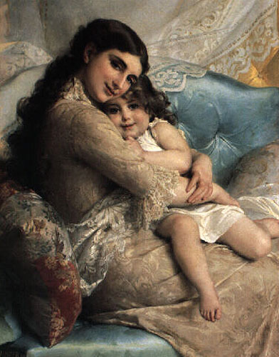 Emile Munier Portrait of a mother and daughter. 1885