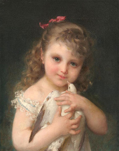 Emile Munier Girl holding a dove. 1886