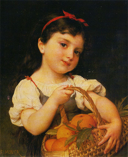 Emile Munier Girl with a basket of oranges. 1887