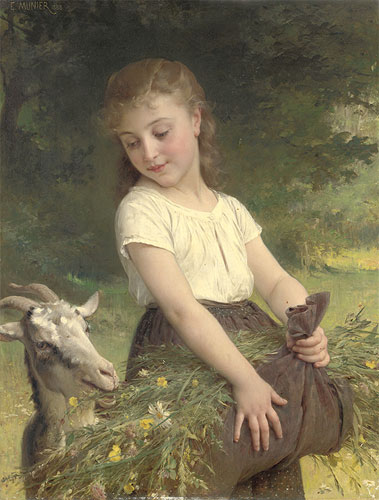 Emile Munier Gathering wild flowers. 1888