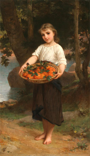 Emile Munier Girl with basket of oranges. 1889