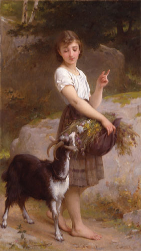Emile Munier Girl with goat and flowers. 1890