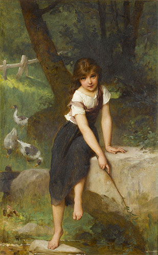 Emile Munier Fishing for minnows. 1893