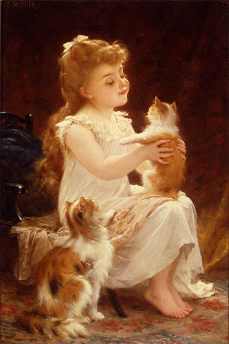 Emile Munier Playing with the kitten. 1893