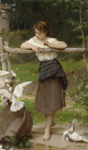 Emile Munier Teasing the doves. 1895