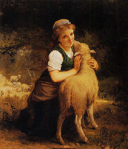 Emile Munier Girl with lamb